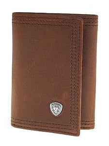 Tri Fold Performance Work Sunshine Medium Brown Ariat Wallets front