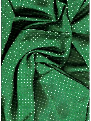 Forest Green with White Polka Dot Western Cowboy Silk Wild Rag Bandana Buckaroo ruffled