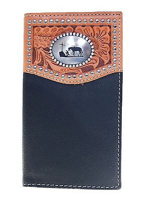 Nocona Mens Western Wallet Praying Cowboy Concho/ Rodeo