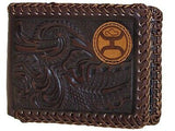 HOOey Mens Western Bi-Fold Wallet Embossed Floral Laced Edges DK Brown front
