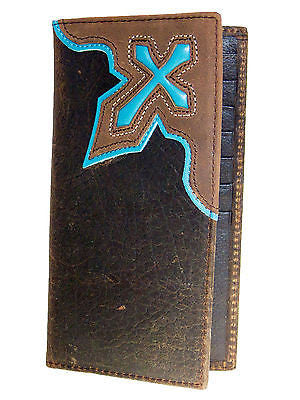 Nocona Mens Western Rodeo Leather Wallet/Turquoise Cowboy Cross/Brown