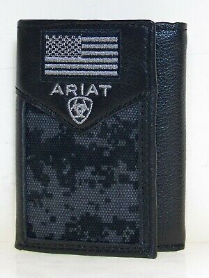 Ariat Mens Western Wallet Tri-fold Black Leather Digital Camo USA Flag front