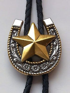 Silver Horse Shoe Texas Star Gold Western Bolo Ties close