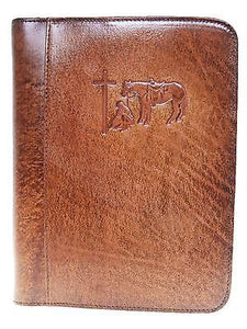 Western Leather Praying Cowboy Bible Cover Standard Size front