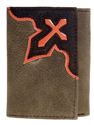 Tri-fold Orange Cowboy Cross Brown Leather Nocona Wallets front