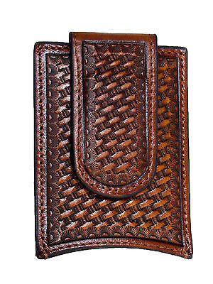Nocona Mens Western Leather Money Clip Credit Card Holder/Tooled/Brown