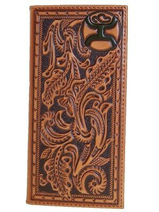 HOOey Mens Western Rodeo Wallet Embossed Floral Design Rich Saddle Tan front