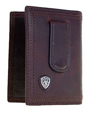 Ariat Leather Front Pocket Bifold Money Clip Mens Wallet/Dk Brown