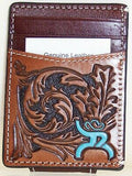 HOOey Mens Western Money Clip Credit Card Wallet Turquoise ROUGHY Logo Brown front