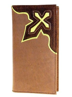 Lime Green Cowboy Cross Brown Leather Nocona Rodeo Wallets front
