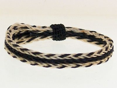 Horse Hair Bracelet One Size Fits All  White/Black front