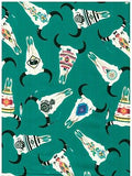 Wild Rags Turquoise Green with SW Painted Cow Skulls Western Buckaroo Silk Scarf full