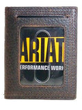 Ariat Leather Front Pocket Money Clip Mens Bifold Wallet/Dk Brown Rowdy back