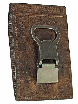 Nocona Money Clip Wallet Credit Card Holder/Ostrich Look/Br front