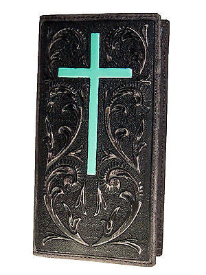 Ariat Mens Western Rodeo Wallet/11Credit Card/Tooled/Turquoise Cross front
