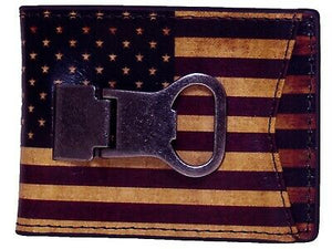 USA Flag VINTAGE LOOK Bottle Opener Bifold Money Clip Nocona Western Wallet front