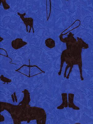 Cowboy Silhouette/Royal Blue/ Western  Wildrag Bandana Buckaroo Scarf print close up