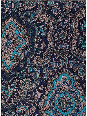 XL 42 Inch Paisley Blue/Gold Silk Wild Rags full