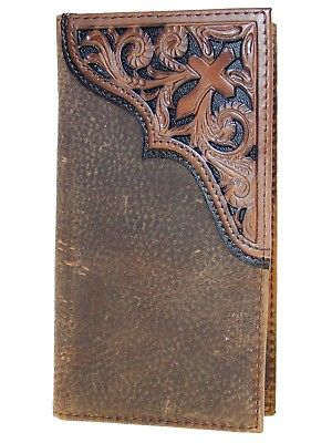Tooled Cross Brown Rowdy 11 Credit Card Ariat Rodeo Wallet front