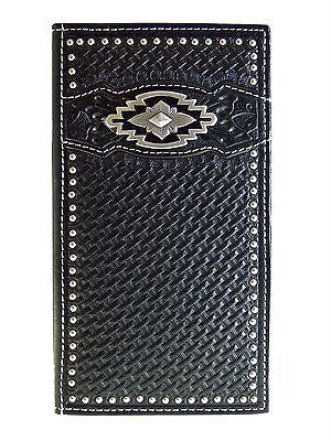 Ariat Mens Western Rodeo Wallet/11 Credit Card/ Billfold/Black/Southwest