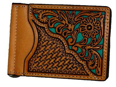 Money Clip Bi-Fold Card Holder Cut Out Tan Turquoise  Nocona Wallet front