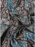 Extra Large 42 Inch Paisley Maroon/Gold Silk Wild Rags ruffled