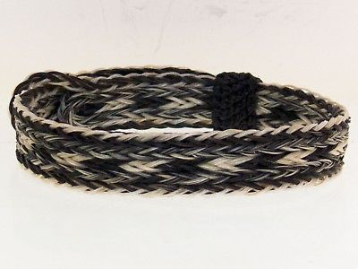 Horse Hair Bracelet One Size Fits All Salt / Pepper, Gray White Black  WIDE front