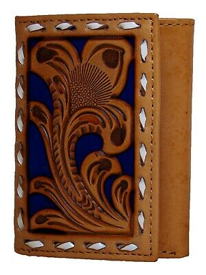 Nocona Mens Western Tri-Fold Wallet Embossed Floral Cut Out Saddle Tan Blue front