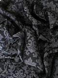 Silk/Poly Blend Jacquard Wild Rag Black and Silver 36 x 36 inch ruffle