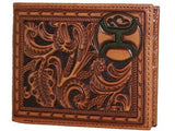 HOOey Mens Western Bi-Fold Wallet Embossed Floral Design Rich Saddle Tan front