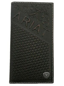 Ariat Mens Western Rodeo Wallet Diagonal Ariat Embossed Leather Brown front