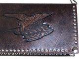 Trucker Flag Chain Dk. Brown Leather Nocona Rodeo Wallet detail