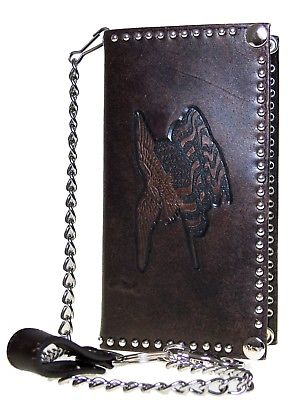 Nocona Dk. Brown Mens Western Rodeo Wallet Leather Trucker Flag Chain