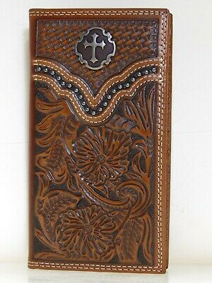 Ariat Mens Western Rodeo Wallet Cross Concho Embossed Leather Brown front