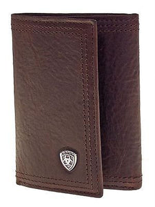 Ariat Mens Western Wallet/Performance Work/Tri-fold/Dark Copper Brown front