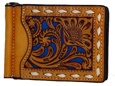 Money Clip Bi-Fold Card Holder Cut Out Tan Turquoise Lace Nocona Wallet front