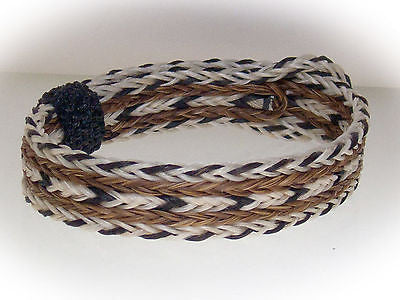 Braided Horse Hair Bracelet One Size Fits All Black/White/Brown WIDE front
