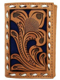 Nocona Mens Western Tri-Fold Wallet Embossed Floral Cut Out Saddle Tan Blue detail