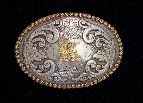 "Nocona Western Cowboy Cowgirl Initial ""K"" Oval Belt Buckle front"