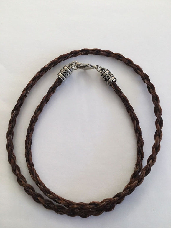 Western Necklace French Braided Horse Hair  6mm  Brown NO EXTENDER