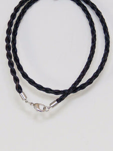 Western Necklace French Braided Horse Hair 6mm Black 20 Inch front