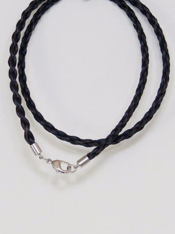 Western Necklace French Braided Horse Hair 6mm Black 20 Inch