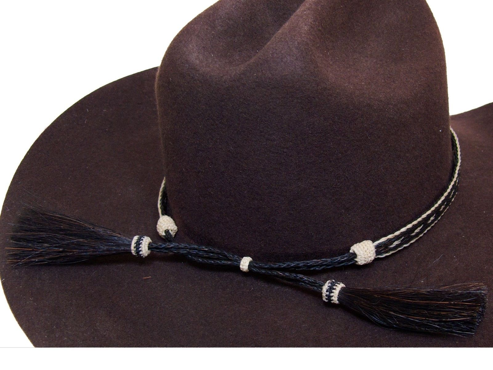 Horse Hair Cowboy Hat Band Black and White With 2 Tassels