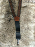 Western Leather Suspenders/Galluses Tooled Nocona Brown back