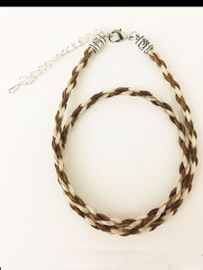 Western Necklace French Braided Horse Hair  6mm  Brown with White
