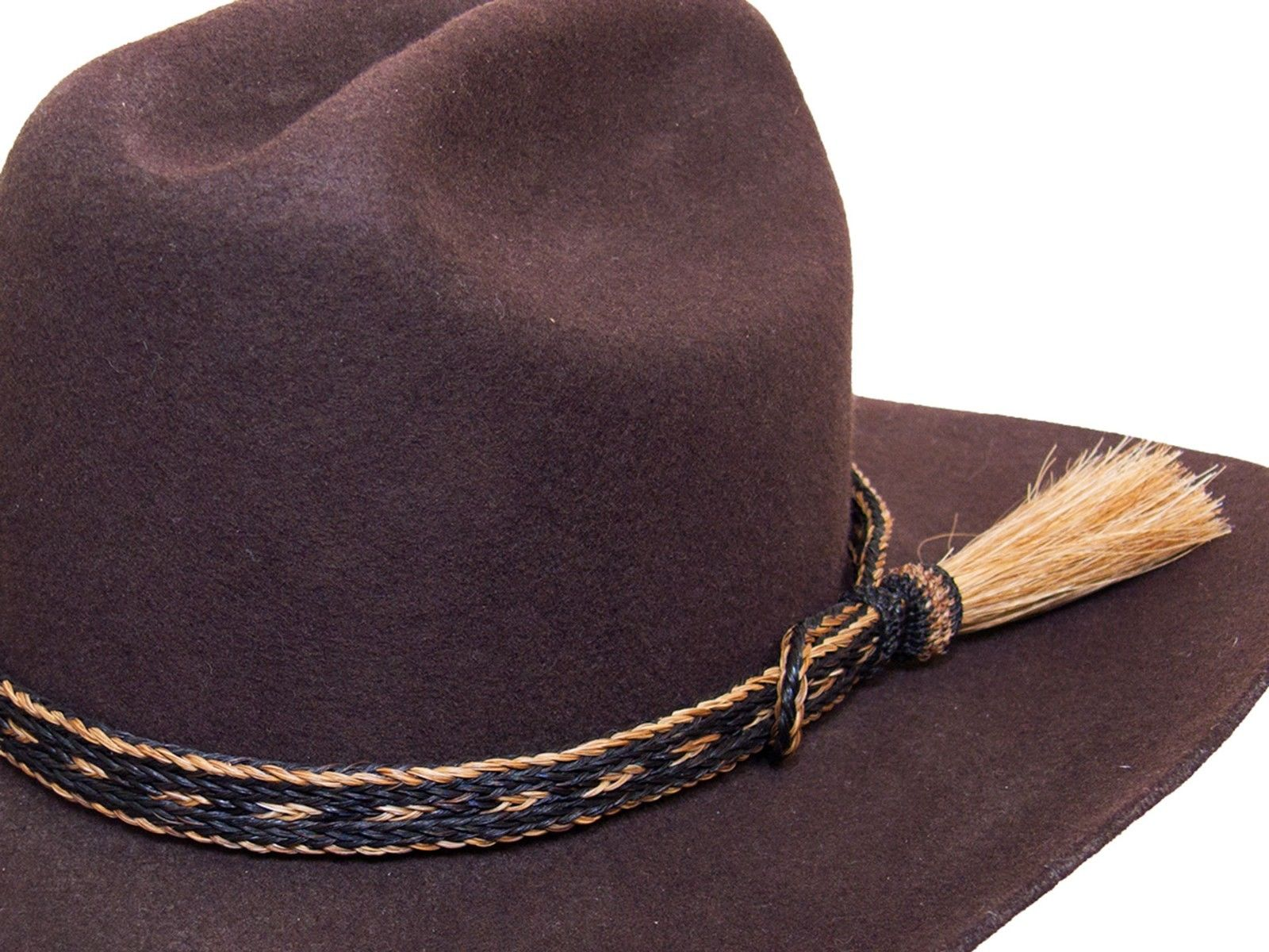 Horse Hair Cowboy Hat Band Black and Brown With Tassel