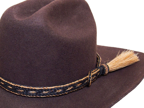 Horse Hair Cowboy Hat Band Black and Brown With Tassel detail