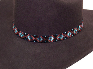 Beaded Cowboy Hat Band Stretch Fit Diamond Design detail
