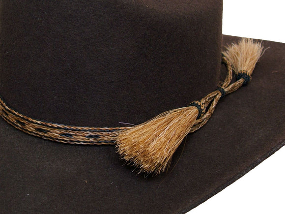 Horse Hair Cowboy Hat Band Brown and Black  With 2 Tassels detail