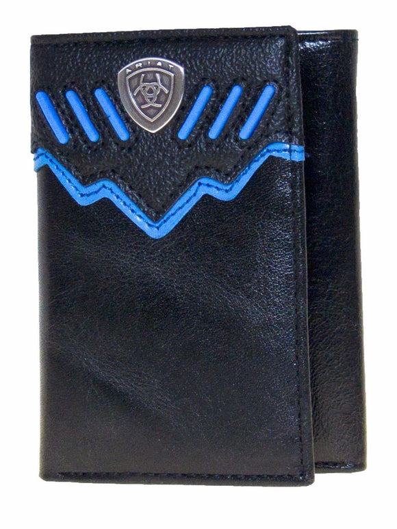 Ariat Mens Western Wallet/Tri-fold/Black/Raised Blue Stripes front